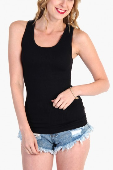 LoveMelrose.com From Harry & Molly | SEAMLESS RACERBACK TANK TOP - Black