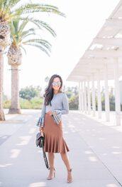 skirt,pencil skirt,faux leather skirt,ruffle skirt,sweater,ruffle sleeves,handbag,sandals,blogger,blogger style