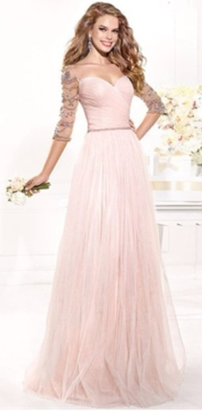 pale pink a-line sweetheart ruched bodice pink