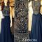 Dark blue chiffon a-line beaded long prom dresses, evening dresses, formal dresses - 24prom