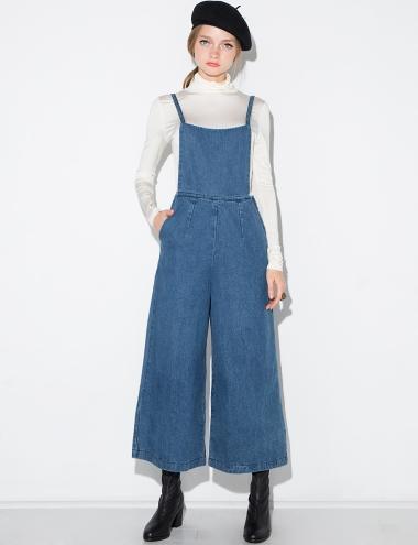 8fcd0367e43 Denim Wide Leg Overalls - Denim Culotte Jumpsuit -