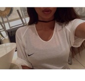 shirt,t-shirt,nike,sheer,white,white t-shirt,white top,top,skirt,nike shirts