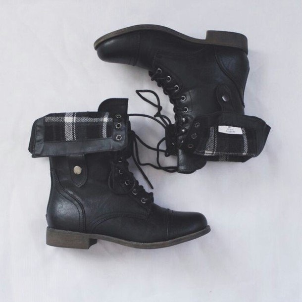 shoes black combat boots cuffable plaid