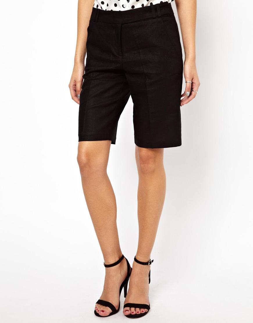 ASOS Linen Shorts In Longline at asos.com