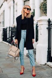 fashionjackson,blogger,coat,top,jeans,shoes,sunglasses,bag,fall outfits,red heels,black coat,handbag,pumps,high heel pumps,pointed toe pumps,high waisted jeans,wool coat,black blouse