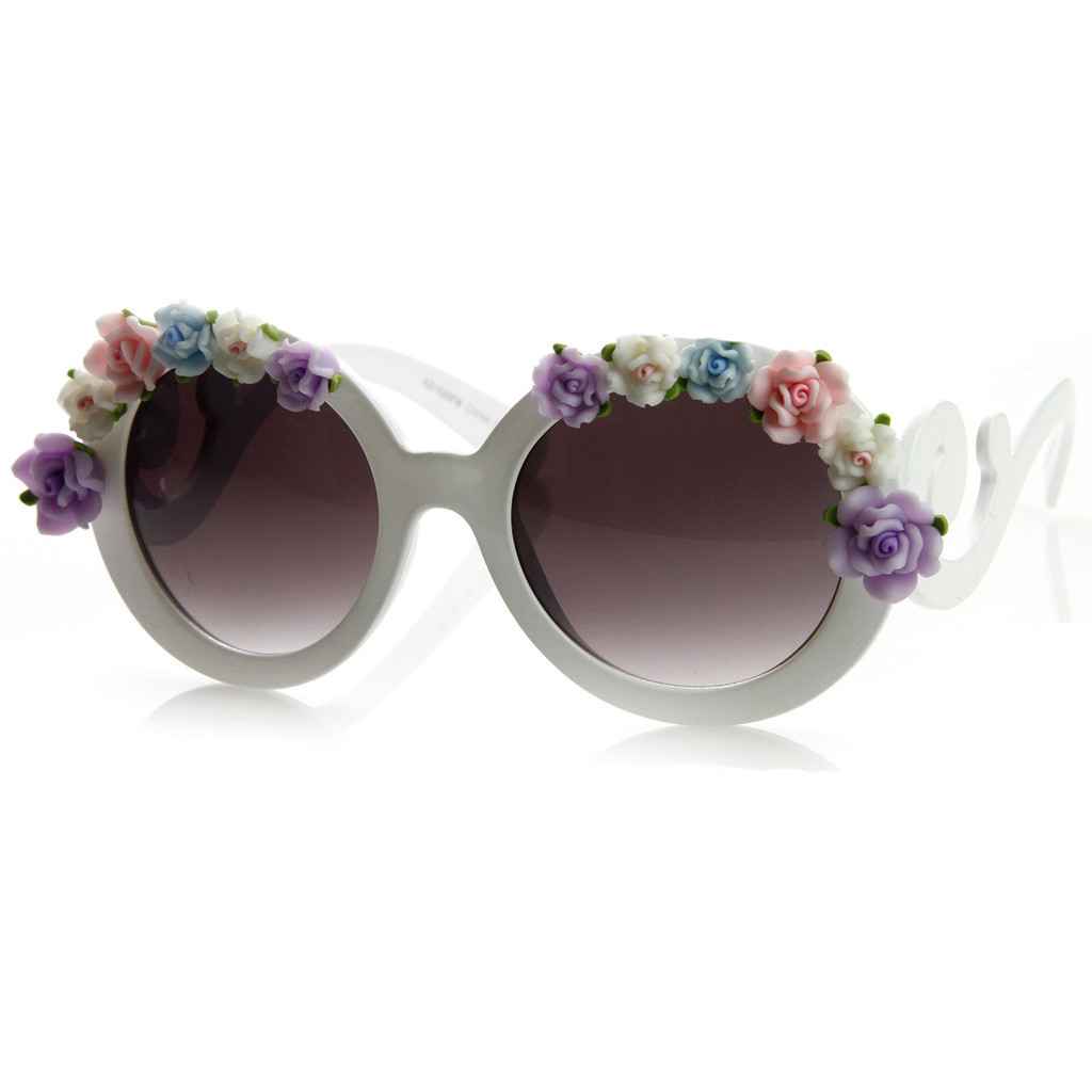 Oversize Baroque Swirl Arm Flower Floral Sunglasses 8852                           | zeroUV