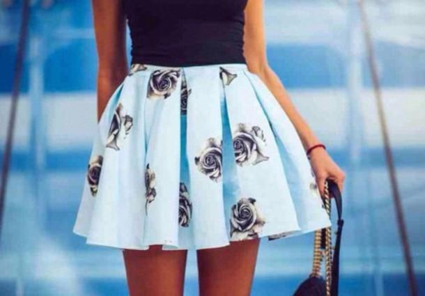 flowers roses skirt skater skirt