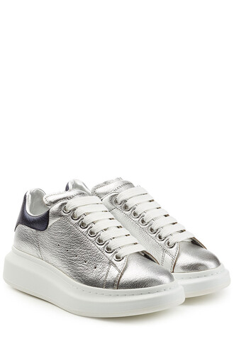 sneakers leather silver shoes