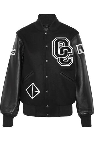 jacket bomber jacket leather black wool
