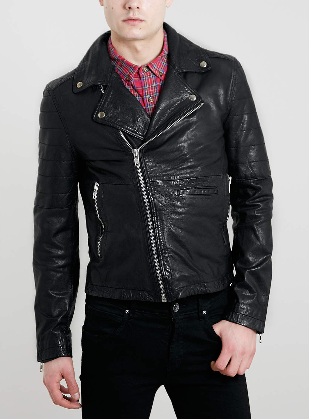 LEATHER BIKER JACKET - Leather Jackets - Leather & Leather Look ...