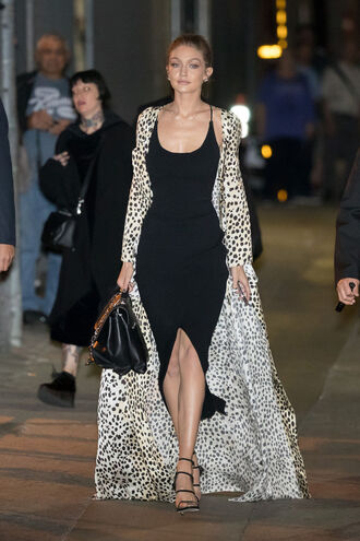 dress slit dress midi dress black dress model off-duty coat robe sandals gigi hadid shoes