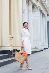 the corporate catwalk,blogger,dress,shoes,bag,jewels,sunglasses,eyelet dress,white dress,midi dress,romantic summer dress,three-quarter sleeves,summer dress,summer outfits,nude bag,white sunglasses,high heel pumps,nude pumps,eyelet detail