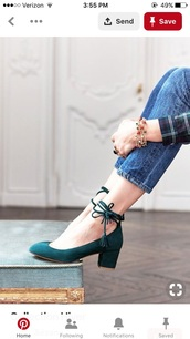 shoes,green,block heel,ankle laces