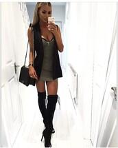 dress,grey,summer dress,cute dress,mini dress,sexy dress,short dress,party dress,sexy party dresses,short party dresses,clubwear,club dress,cute outfits,cute high heels,cute shoes,shoes,sexy shoes,party shoes,outfit,outfit idea,summer outfits,spring outfits,date outfit,party outfits,knee high boots,black heels,black shoes,high heels,heels,black high heels,summer shoes,winter boots,bag,purse,black bag,handbag,vest,black vest,necklace,cross,olive tank dress