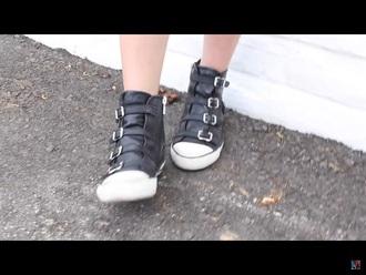 shoes ava allan youtube closet black white b&w cute sneakers buckles actress model zip flat