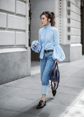 tsangtastic,blogger,blouse,jewels,jeans,sunglasses,bag,shoes,blue shirt,bell sleeves,loafers,handbag,shirt,tumblr,denim,blue jeans,black shoes,blue bag,monochrome,monochrome outfit,spring outfits,puffed sleeves