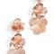 Oscar de la renta brushed texture flower long drop clip on earrings