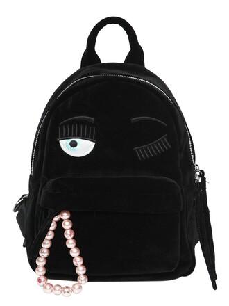 backpack velvet black bag