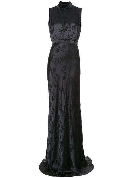 Saloni gown women floral black silk pattern dress