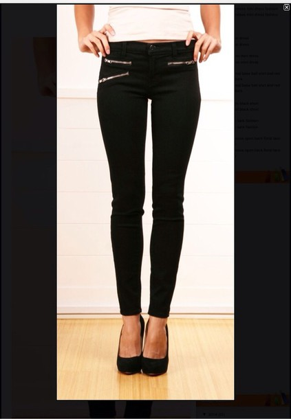Jeans: black skinny jeans zipper front pockets - Wheretoget