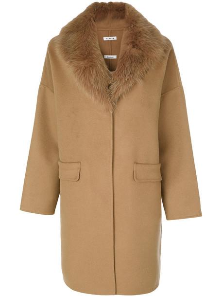 coat fur fox women wool brown