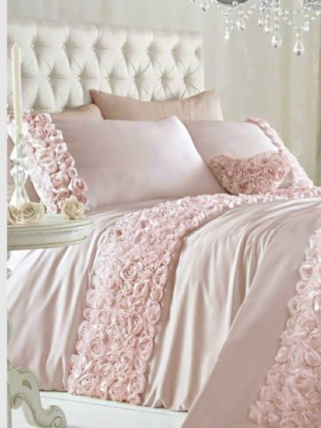 home accessory, baby pink, romantic, girly, bedding - Wheretoget