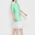 Green Half Sleeve Geometric Print Flare Dress - Sheinside.com