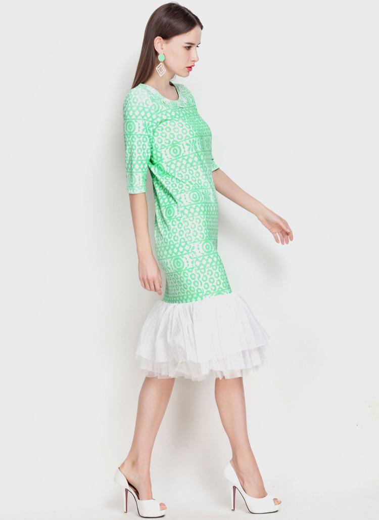 Green Half Sleeve Geometric Print Flare Dress - Sheinside.com