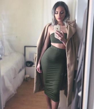 skirt coat two piece dress set green dress beige coat bodycon bodycon dress midi midi dress strapless strapless dress party dress sexy party dresses sexy sexy dress party outfits summer dress