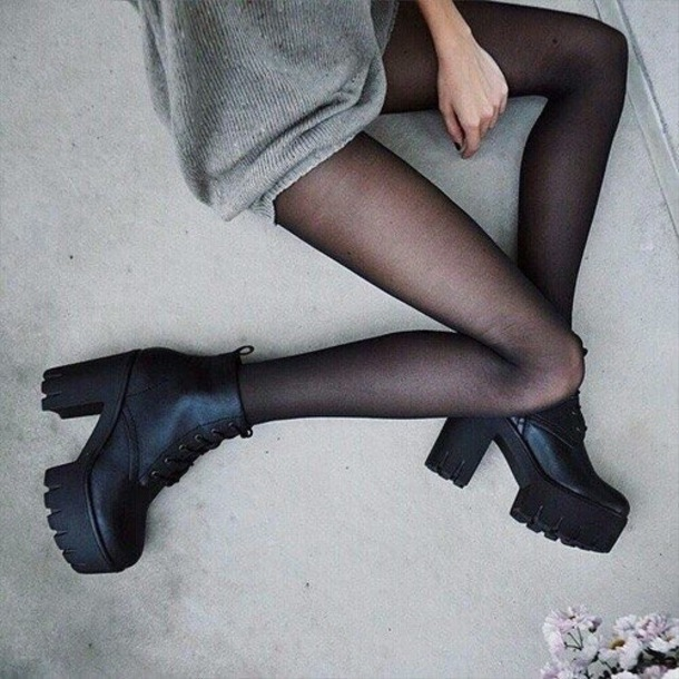 shoes grunge boots high heeled boots