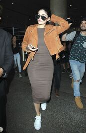 dress,bodycon dress,midi dress,kardashians,kylie jenner,sneakers,sunglasses,suede jacket,jacket,shoes