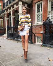 sweater,striped sweater,multicolor,ankle boots,suede boots,mini skirt,crossbody bag,earrings,watch