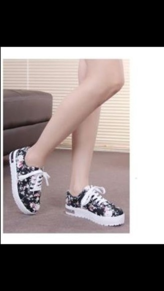 shoes pink platform shoes floral sneakers fashion style teenagers black cute