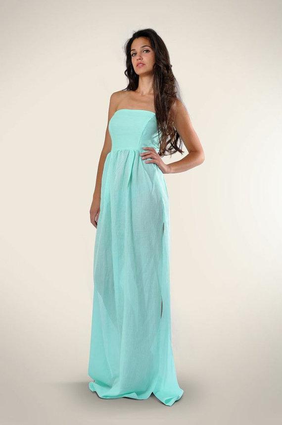 6e80003e7fe5 Aqua Maxi Dress Strapless Maxi Dress Semi by LeMoutonBleuShop