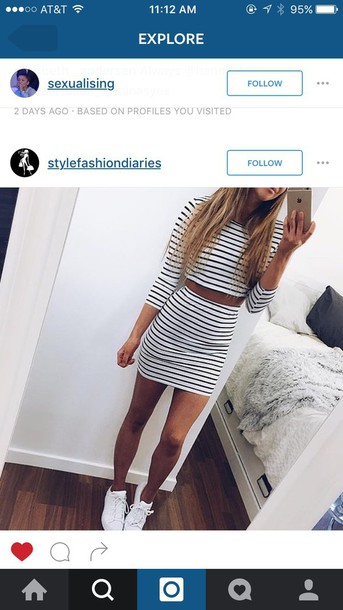 5aaec8784 dress striped top striped skirt two piece dress set instagram two-piece  striped dress iphone