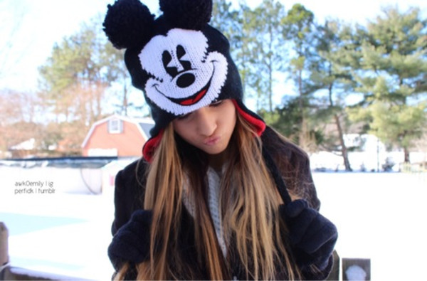 hat black beanie mickey mouse mickey mouse
