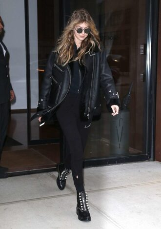 jacket all black everything streetstyle model off-duty gigi hadid fall outfits