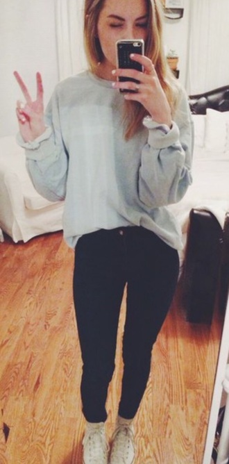 sweater comfy baggy sweaters tumblr outfit tumblr sweater baby blue