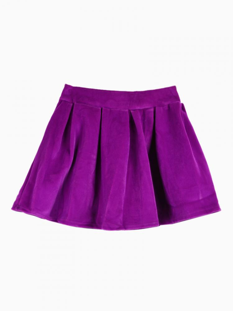 Velvet Pleated Skirt In Purple | Choies