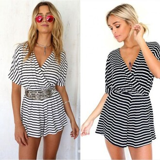 jumpsuit slim v neck strip stripes black and white black gray short short sleeve fashion girly summer party sexy sexy shirt