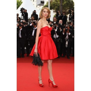 Frederique bel red strapless party dress 2011 cannes film festival red carpet