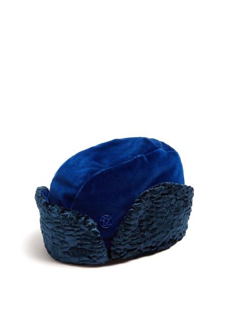 Maison Michel fur hat fur hat velvet blue
