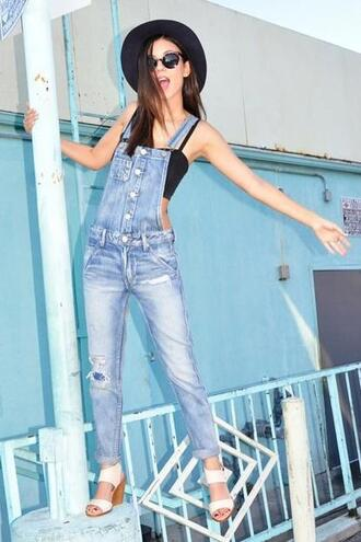 jeans top overalls denim instagram victoria justice sandals hat shoes