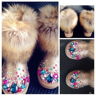 crystal ugg boots gold metallic shoes boots furry boots