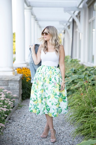 suburban faux-pas blogger jacket tank top skirt shoes bag sunglasses jewels white floral skirt maxi skirt green skirt midi skirt white top white tank top denim jacket blue jacket sandals sandal heels high heel sandals nude sandals