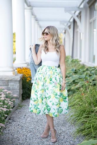 suburban faux-pas blogger jacket tank top skirt shoes bag sunglasses jewels white floral skirt maxi skirt green skirt