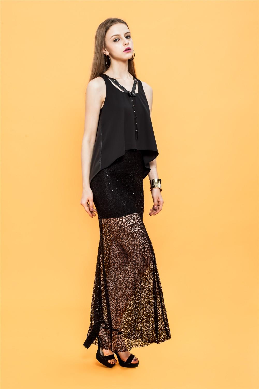 Sabrina black sequins french net maxi skirt