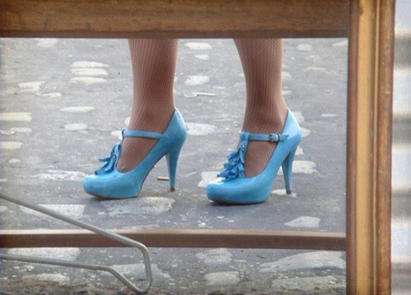 shoes blue blue shoes high heels