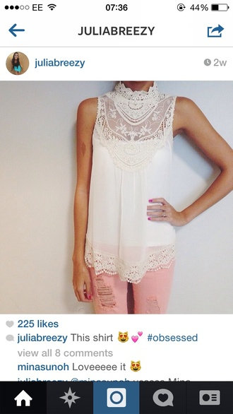 blouse jeans lace white t-shirt white lace top cut-out cute shirt details