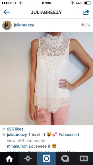 blouse lace white lace top jeans blouse white t-shirt cutout shirt cute shirt details